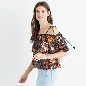 Madewell silk cold-shoulder top in sea floral